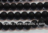 CAG6011 15.5 inches 6mm round matte black agate beads