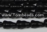 CAG6042 15.5 inches 5*8mm carved calabash matte black agate beads