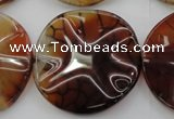 CAG6056 15.5 inches 30mm wavy coin dragon veins agate beads