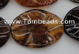 CAG6061 15.5 inches 22*30mm wavy oval dragon veins agate beads