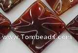 CAG6072 15.5 inches 40mm wavy diamond dragon veins agate beads