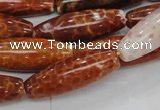 CAG608 15.5 inches 10*30mm rice natural fire agate beads wholesale