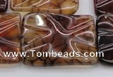CAG6086 15.5 inches 30*30mm wavy square dragon veins agate beads