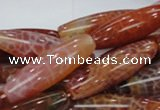 CAG609 15.5 inches 12*40mm rice natural fire agate beads wholesale