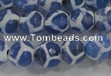 CAG6123 15 inches 14mm faceted round tibetan agate gemstone beads