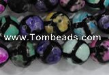 CAG6133 15 inches 14mm faceted round tibetan agate gemstone beads