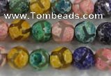 CAG6143 15 inches 14mm faceted round tibetan agate gemstone beads
