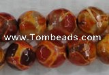 CAG6150 15 inches 10mm faceted round tibetan agate gemstone beads