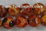 CAG6151 15 inches 12mm faceted round tibetan agate gemstone beads