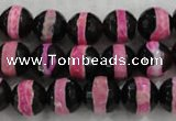 CAG6155 15 inches 8mm faceted round tibetan agate gemstone beads