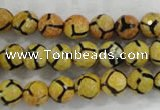 CAG6168 15 inches 14mm faceted round tibetan agate gemstone beads