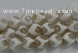 CAG6178 15 inches 14mm faceted round tibetan agate gemstone beads