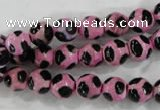 CAG6213 15 inches 14mm faceted round tibetan agate gemstone beads