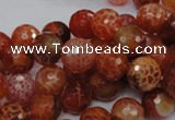 CAG622 15.5 inches 12mm faceted round natural fire agate beads