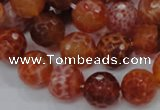 CAG623 15.5 inches 14mm faceted round natural fire agate beads