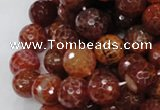 CAG624 15.5 inches 16mm faceted round natural fire agate beads