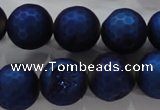 CAG6252 15 inches 8mm faceted round plated druzy agate beads