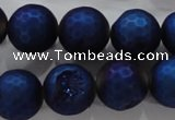 CAG6253 15 inches 10mm faceted round plated druzy agate beads
