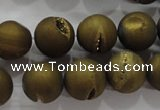 CAG6276 15 inches 16mm round plated druzy agate beads wholesale