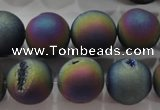 CAG6286 15 inches 16mm round plated druzy agate beads wholesale