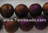 CAG6314 15 inches 12mm faceted round plated druzy agate beads