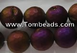 CAG6315 15 inches 14mm faceted round plated druzy agate beads