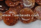 CAG632 15.5 inches 20mm coin natural fire agate beads wholesale