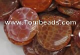CAG633 15.5 inches 30mm coin natural fire agate beads wholesale