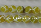 CAG6370 15 inches 8mm faceted round tibetan agate gemstone beads