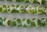 CAG6375 15 inches 10mm faceted round tibetan agate gemstone beads