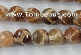 CAG6379 15 inches 10mm faceted round tibetan agate gemstone beads