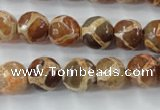 CAG6380 15 inches 12mm faceted round tibetan agate gemstone beads