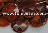 CAG640 15.5 inches 30mm faceted coin natural fire agate beads