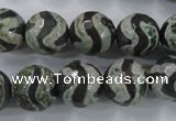 CAG6402 15 inches 14mm faceted round tibetan agate gemstone beads