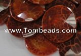 CAG641 15.5 inches 35mm faceted coin natural fire agate beads