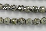 CAG6417 15 inches 14mm faceted round tibetan agate gemstone beads