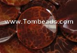 CAG642 15.5 inches 40mm faceted coin natural fire agate beads