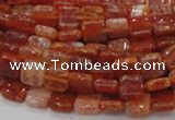 CAG643 15.5 inches 8mm square natural fire agate beads wholesale