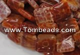 CAG644 15.5 inches 15mm square natural fire agate beads wholesale
