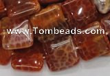 CAG645 15.5 inches 20mm square natural fire agate beads wholesale
