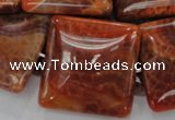 CAG646 15.5 inches 40mm square natural fire agate beads wholesale