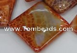 CAG648 15.5 inches 40*40mm rhombic natural fire agate beads