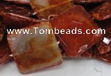 CAG652 15.5 inches 30*30mm faceted square natural fire agate beads