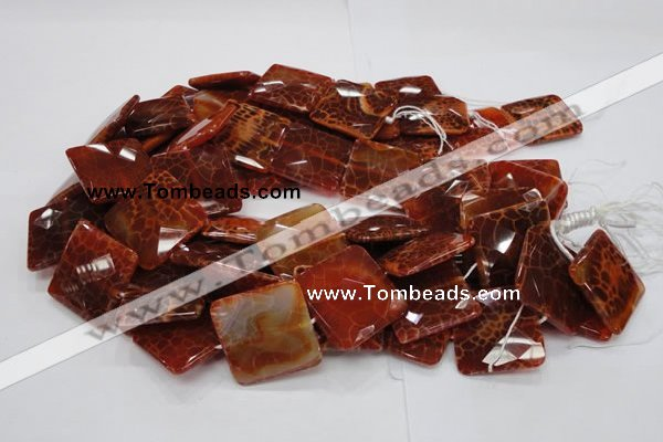 CAG653 15.5 inches 40*40mm faceted square natural fire agate beads