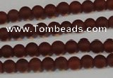 CAG6550 15.5 inches 4mm round matte red agate beads wholesale