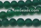 CAG6568 15.5 inches 7mm round matte green agate beads wholesale