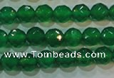 CAG6612 15.5 inches 6mm faceted round green agate gemstone beads