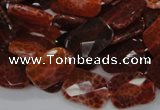 CAG662 15.5 inches 13*18mm faceted rectangle natural fire agate beads