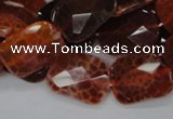 CAG663 15.5 inches 15*20mm faceted rectangle natural fire agate beads