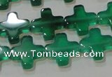 CAG6634 15.5 inches 10*10mm cross green agate gemstone beads
